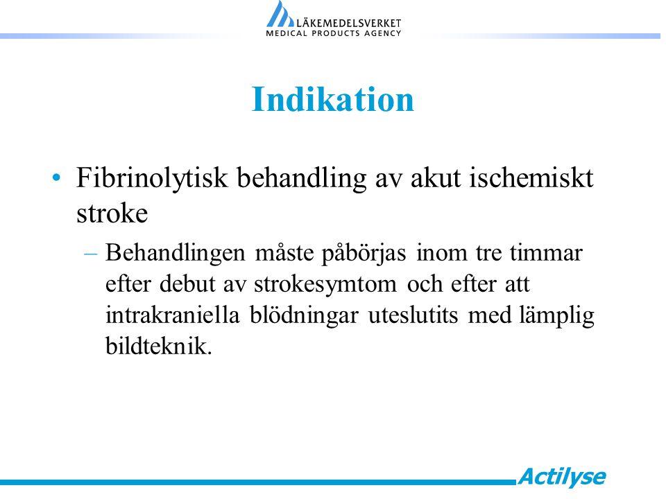 Actilyse Indikation Fibrinolytisk behandling av akut ischemiskt stroke –Behandlingen måste påbörjas inom tre timmar efter debut av strokesymtom och efter att intrakraniella blödningar uteslutits med lämplig bildteknik.