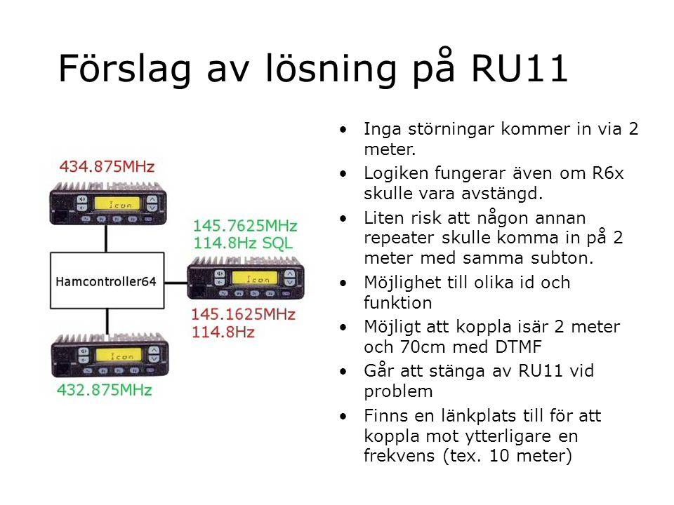 Förslag av lösning på RU11 Inga störningar kommer in via 2 meter. Logiken fungerar även om R6x skulle vara avstängd. Liten risk att någon annan repeat