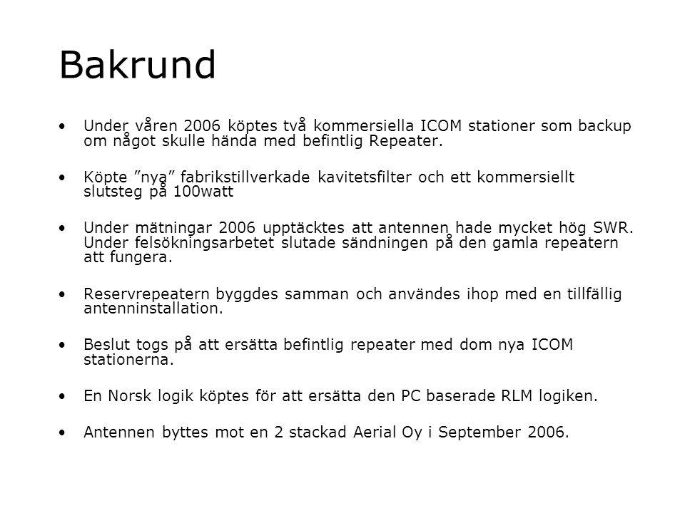 """Bakrund Under våren 2006 köptes två kommersiella ICOM stationer som backup om något skulle hända med befintlig Repeater. Köpte """"nya"""" fabrikstillverkad"""