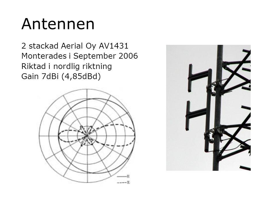 Antennen 2 stackad Aerial Oy AV1431 Monterades i September 2006 Riktad i nordlig riktning Gain 7dBi (4,85dBd)