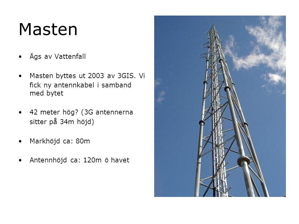 Masten Ägs av Vattenfall Masten byttes ut 2003 av 3GIS. Vi fick ny antennkabel i samband med bytet 42 meter hög? (3G antennerna sitter på 34m höjd) Ma