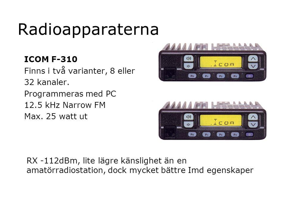 Radioapparaterna ICOM F-310 Finns i två varianter, 8 eller 32 kanaler. Programmeras med PC 12.5 kHz Narrow FM Max. 25 watt ut RX -112dBm, lite lägre k