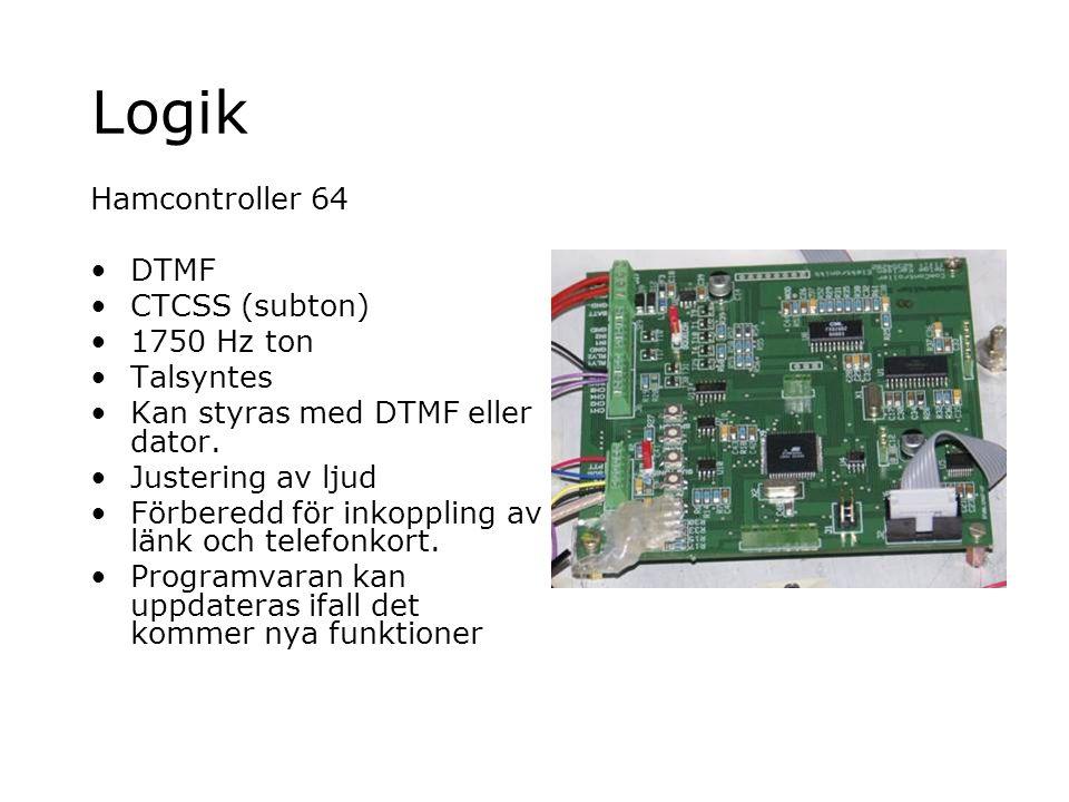Logik Hamcontroller 64 DTMF CTCSS (subton) 1750 Hz ton Talsyntes Kan styras med DTMF eller dator. Justering av ljud Förberedd för inkoppling av länk o