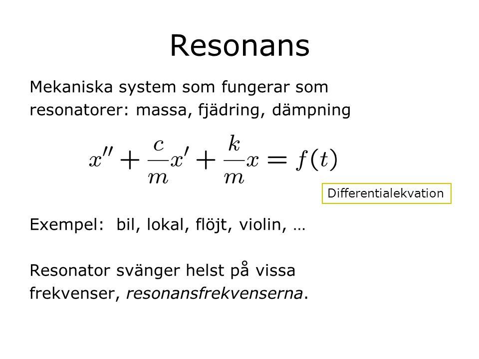 Resonans Mekaniska system som fungerar som resonatorer: massa, fjädring, dämpning Exempel: bil, lokal, flöjt, violin, … Resonator svänger helst på vis