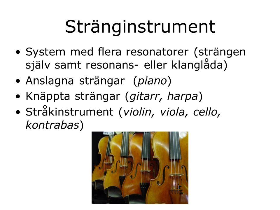 Stränginstrument System med flera resonatorer (strängen själv samt resonans- eller klanglåda) Anslagna strängar (piano) Knäppta strängar (gitarr, harp