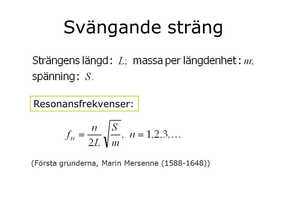 Svängande sträng Resonansfrekvenser: (Första grunderna, Marin Mersenne (1588-1648))