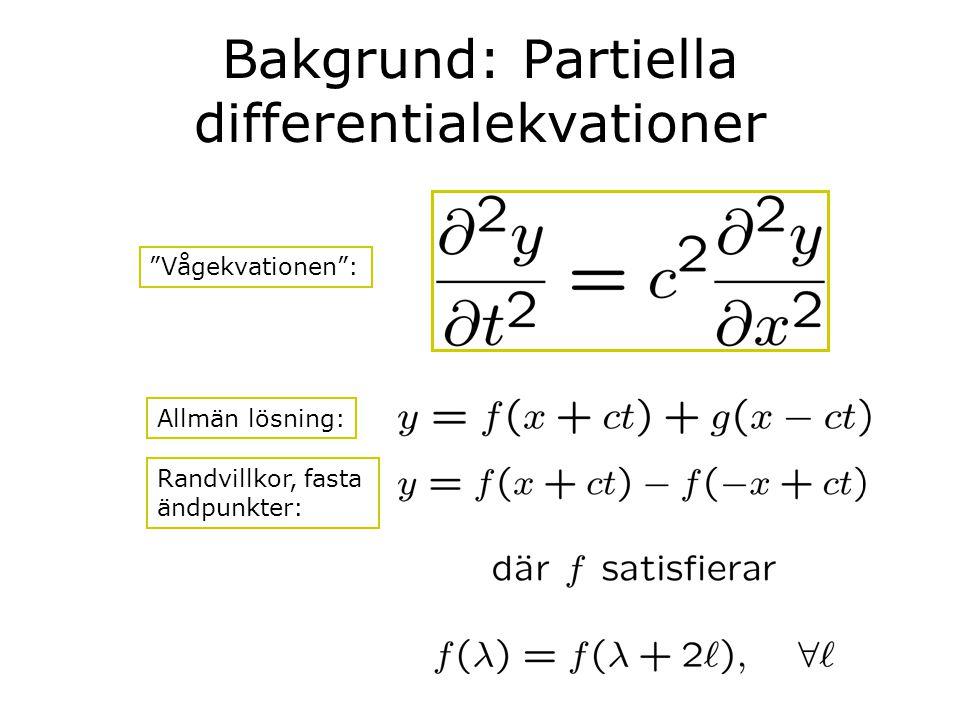 """Bakgrund: Partiella differentialekvationer """"Vågekvationen"""": Allmän lösning: Randvillkor, fasta ändpunkter:"""