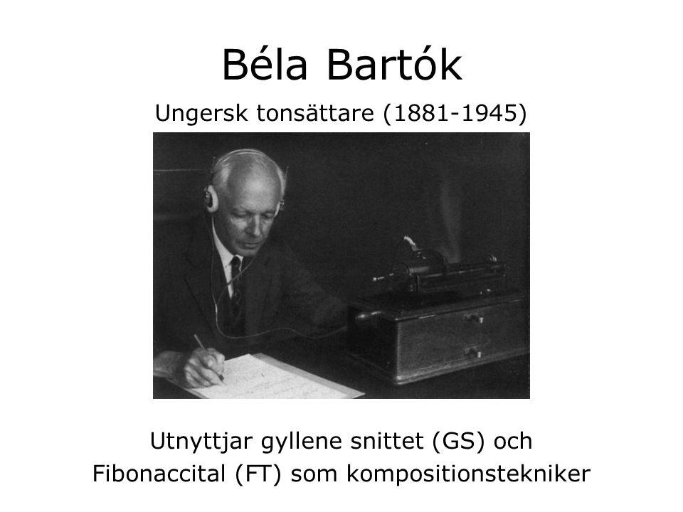 Béla Bartók Ungersk tonsättare (1881-1945) Utnyttjar gyllene snittet (GS) och Fibonaccital (FT) som kompositionstekniker