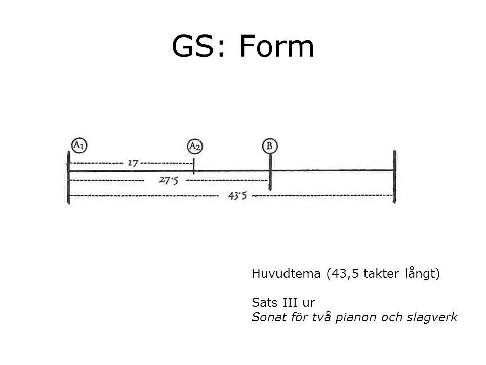 GS: Form Huvudtema (43,5 takter långt) Sats III ur Sonat för två pianon och slagverk