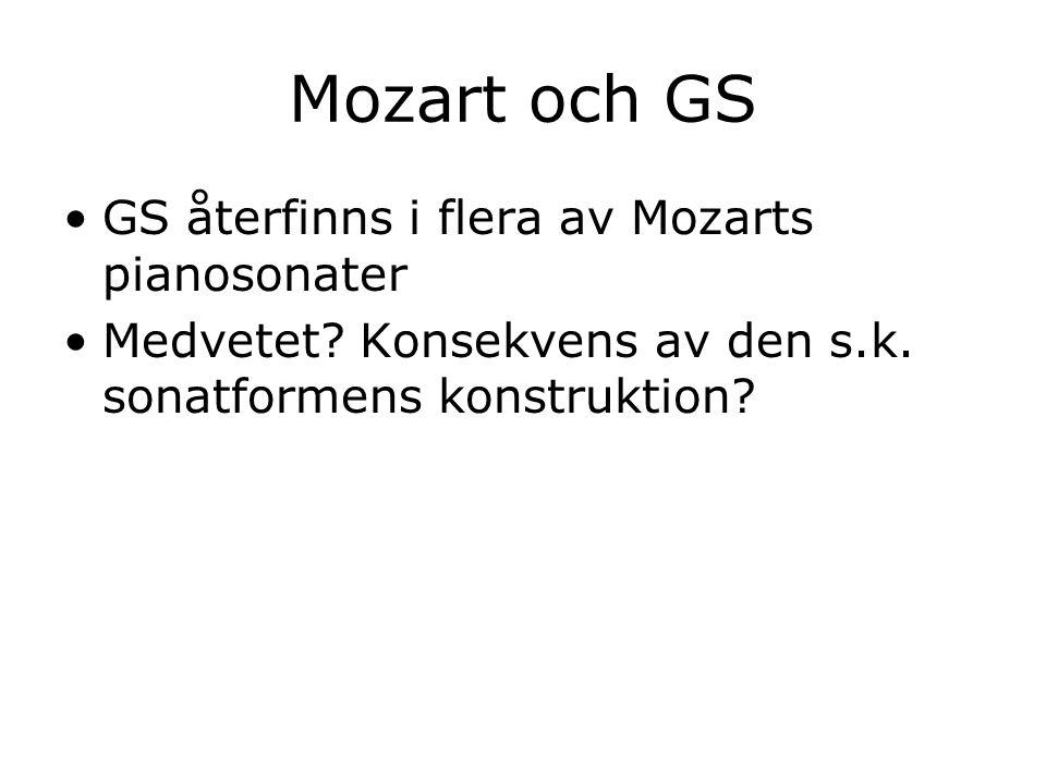 Mozart och GS GS återfinns i flera av Mozarts pianosonater Medvetet? Konsekvens av den s.k. sonatformens konstruktion?
