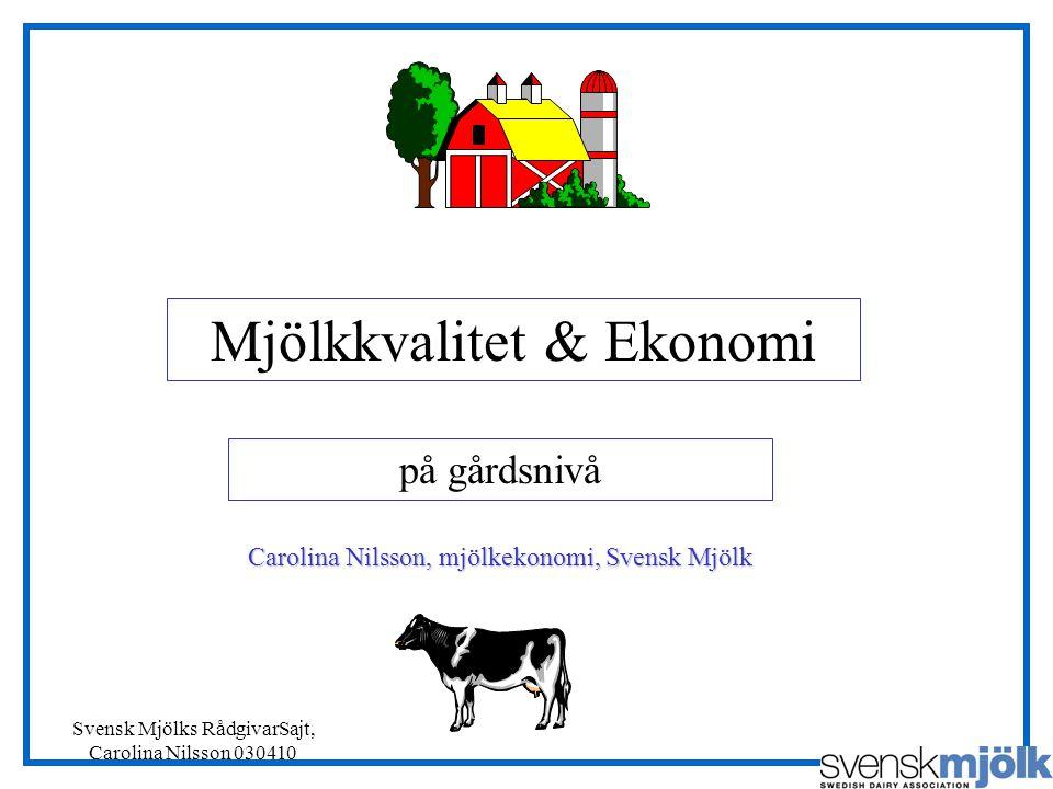 Svensk Mjölks RådgivarSajt, Carolina Nilsson 030410 Mjölkkvalitet & Ekonomi på gårdsnivå Carolina Nilsson, mjölkekonomi, Svensk Mjölk