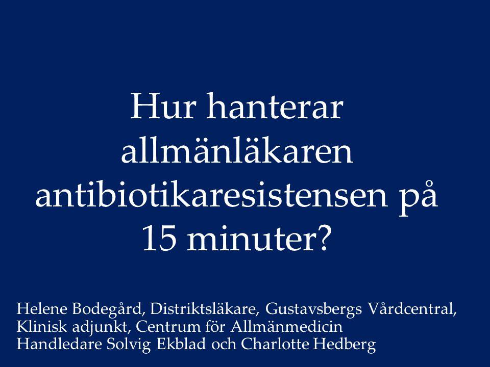 Bakgrund Förutsättning för modern sjukvård Resistensutveckling Brist på nya antibiotika