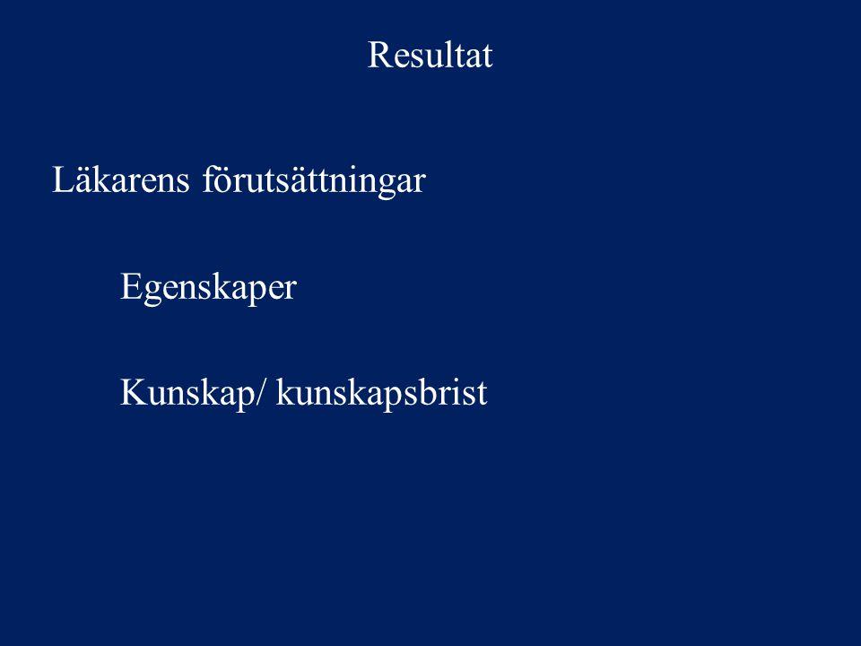 Resultat I mötet med patienten Faktorer hos patienten Patient- läkarrelationen Patientens attityd och kunskap Bemötande, konsultation och pedagogik