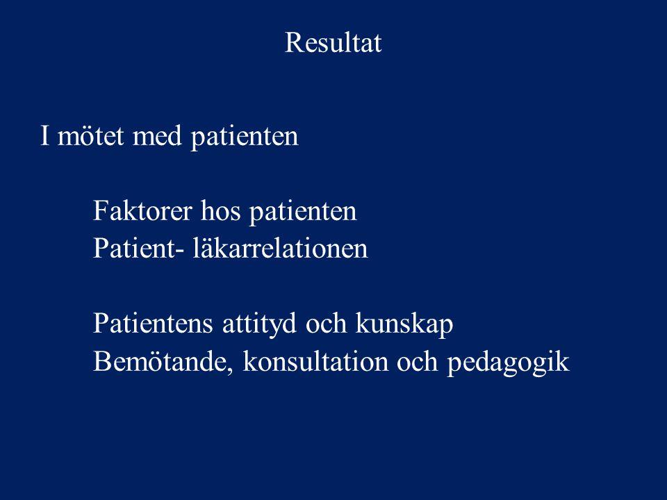 Resultat Läkaren i ett sammanhang Bristande samarbete på vårdcentralen Tidsbrist och dålig kontinuitet Effekter av vårdval Samarbete och lärandemiljö Tid och kontinuitet Åtgärder på samhällsnivå
