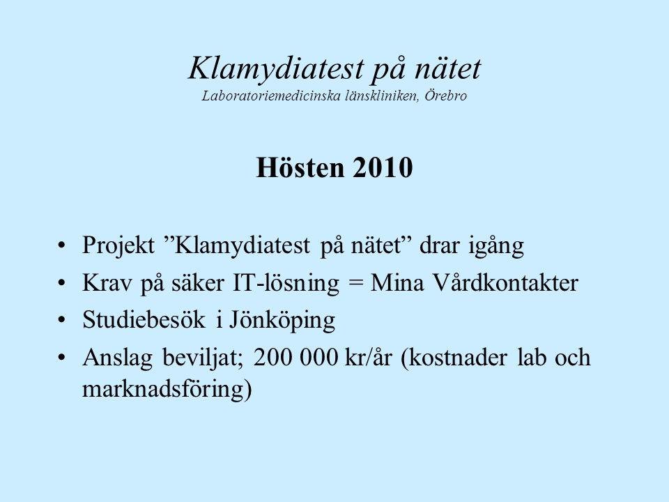 """Klamydiatest på nätet Laboratoriemedicinska länskliniken, Örebro Hösten 2010 Projekt """"Klamydiatest på nätet"""" drar igång Krav på säker IT-lösning = Min"""