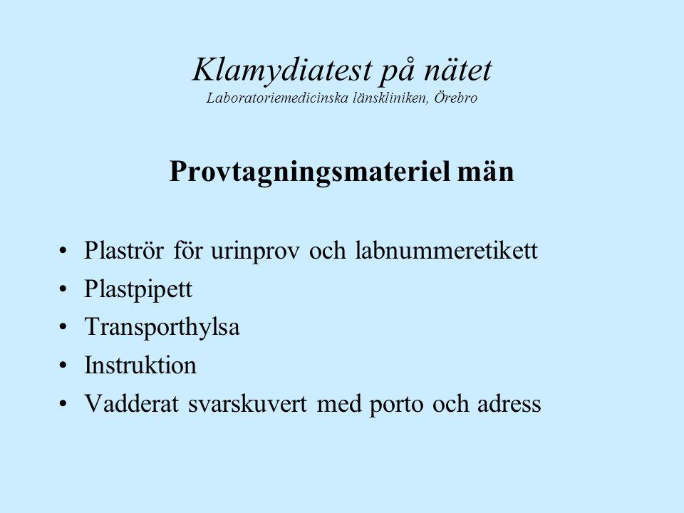 Provtagningsmateriel män Plaströr för urinprov och labnummeretikett Plastpipett Transporthylsa Instruktion Vadderat svarskuvert med porto och adress K