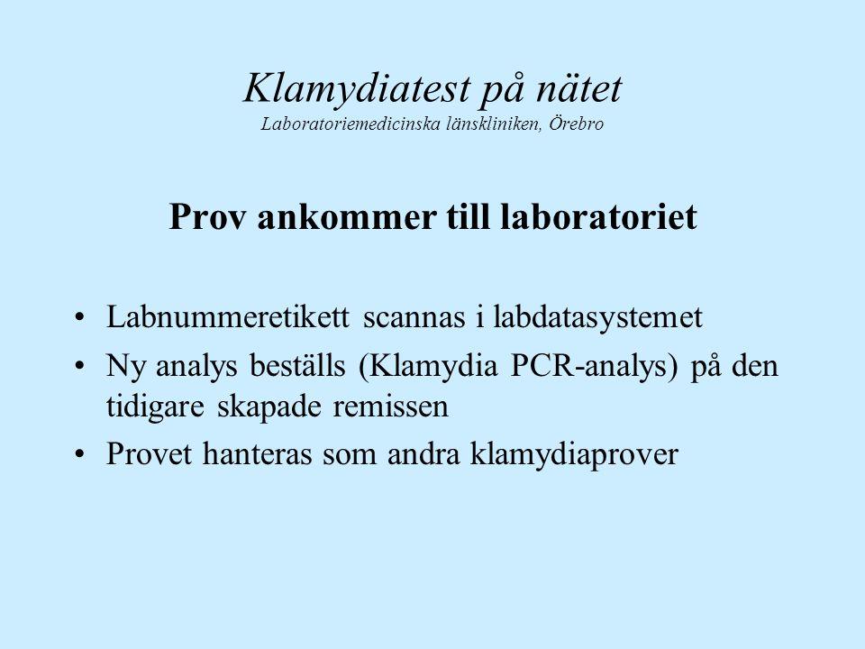 Prov ankommer till laboratoriet Labnummeretikett scannas i labdatasystemet Ny analys beställs (Klamydia PCR-analys) på den tidigare skapade remissen P