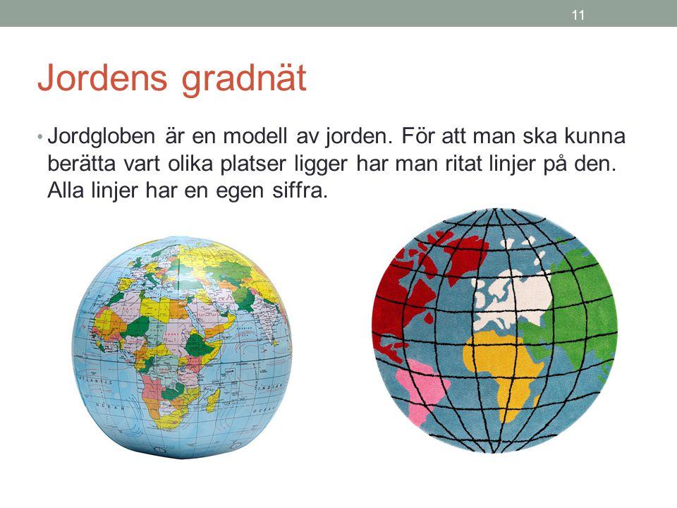 11 Jordens gradnät Jordgloben är en modell av jorden.
