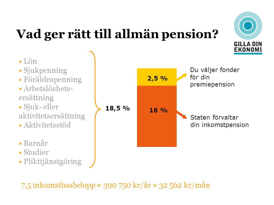 Vad ger rätt till allmän pension? Lön Sjukpenning Föräldrapenning Arbetslöshets- ersättning Sjuk- eller aktivitetsersättning Aktivitetsstöd Barnår Stu