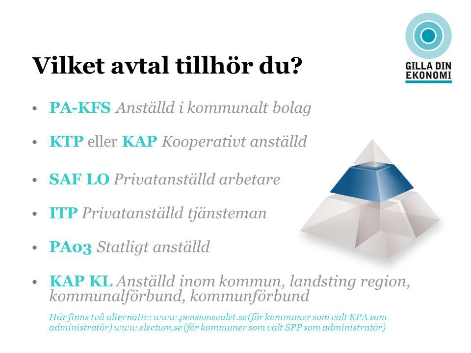 Vilket avtal tillhör du? PA-KFS Anställd i kommunalt bolag KTP eller KAP Kooperativt anställd SAF LO Privatanställd arbetare ITP Privatanställd tjänst