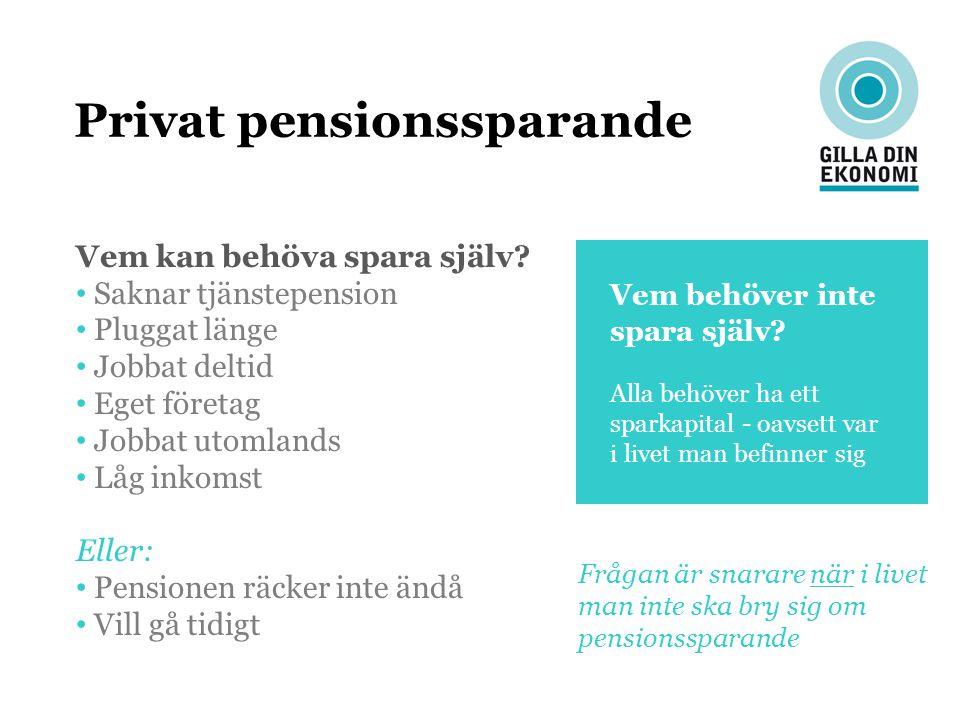Privat pensionssparande Vem kan behöva spara själv? Saknar tjänstepension Pluggat länge Jobbat deltid Eget företag Jobbat utomlands Låg inkomst Eller: