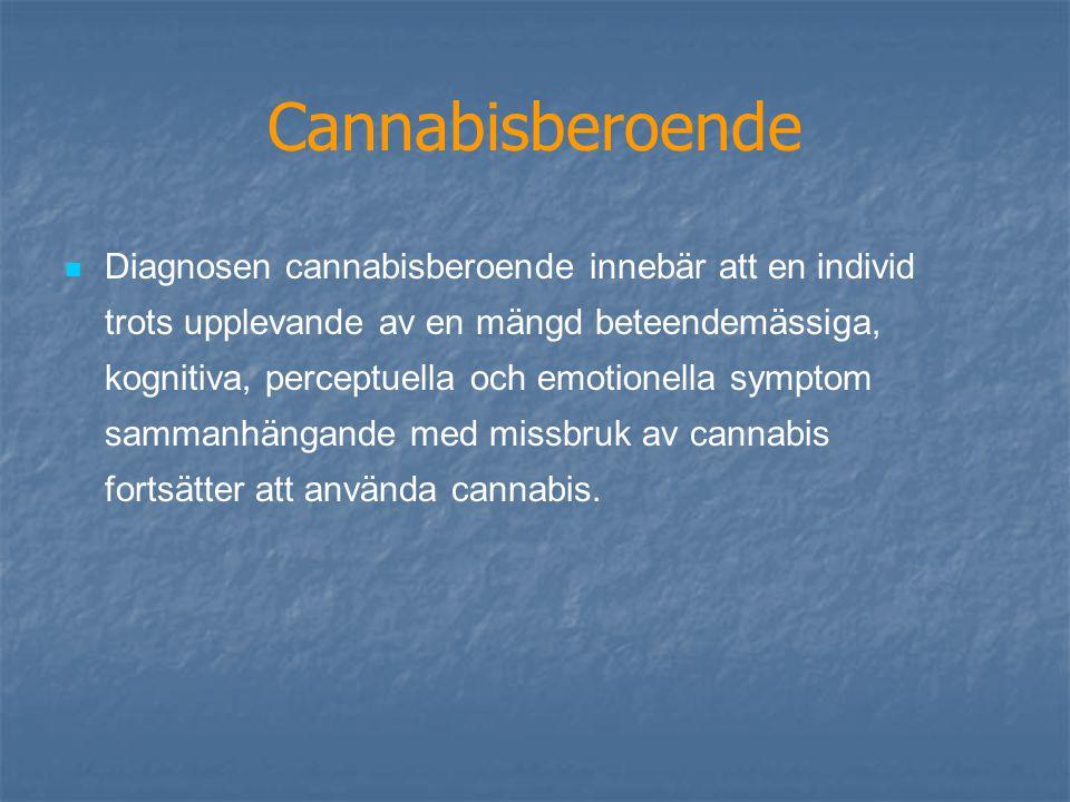 Cannabisberoende Diagnosen cannabisberoende innebär att en individ trots upplevande av en mängd beteendemässiga, kognitiva, perceptuella och emotionella symptom sammanhängande med missbruk av cannabis fortsätter att använda cannabis.