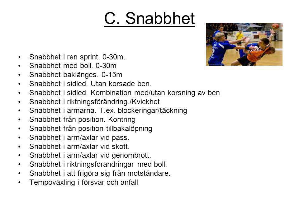 C. Snabbhet Snabbhet i ren sprint. 0-30m. Snabbhet med boll. 0-30m Snabbhet baklänges. 0-15m Snabbhet i sidled. Utan korsade ben. Snabbhet i sidled. K
