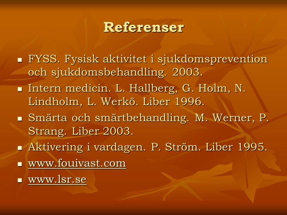 Referenser FYSS. Fysisk aktivitet i sjukdomsprevention och sjukdomsbehandling. 2003. FYSS. Fysisk aktivitet i sjukdomsprevention och sjukdomsbehandlin