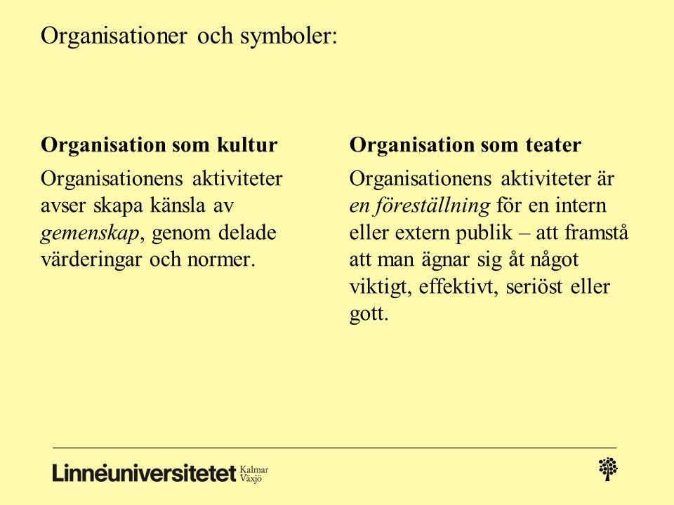 Organisationer och symboler: Organisation som kultur Organisationens aktiviteter avser skapa känsla av gemenskap, genom delade värderingar och normer.