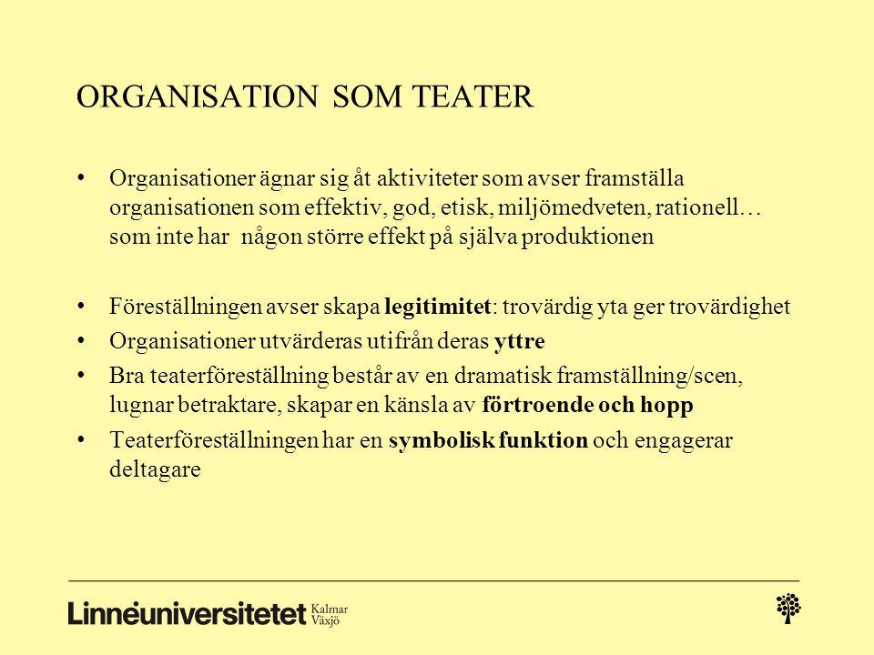 ORGANISATION SOM TEATER Organisationer ägnar sig åt aktiviteter som avser framställa organisationen som effektiv, god, etisk, miljömedveten, rationell