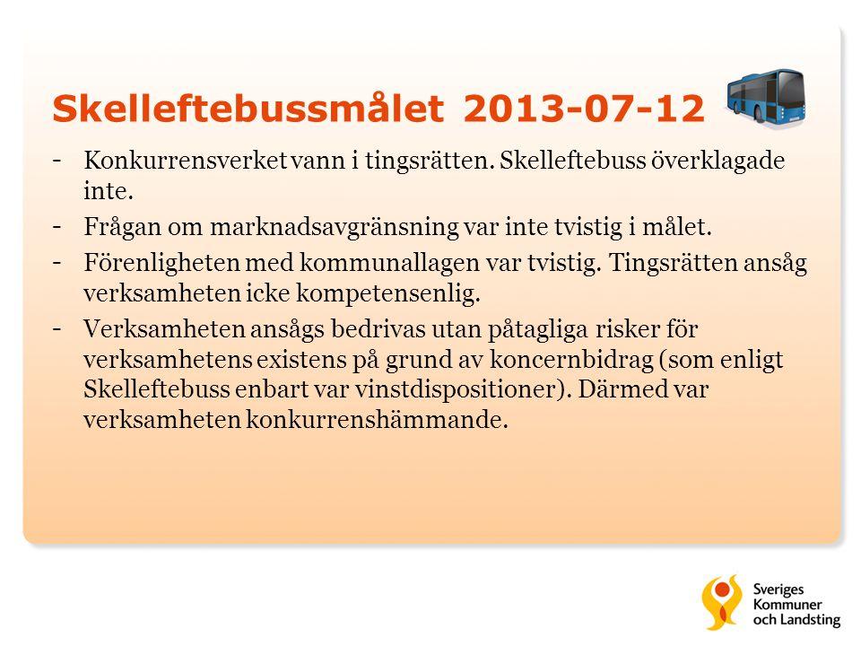 Skelleftebussmålet 2013-07-12 - Konkurrensverket vann i tingsrätten. Skelleftebuss överklagade inte. - Frågan om marknadsavgränsning var inte tvistig