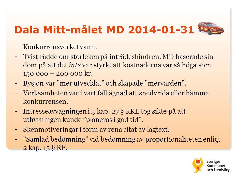 Dala Mitt-målet MD 2014-01-31 - Konkurrensverket vann. - Tvist rådde om storleken på inträdeshindren. MD baserade sin dom på att det inte var styrkt a