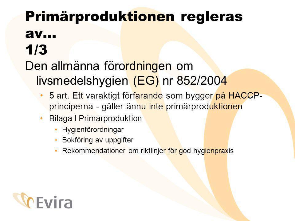 Primärproduktionen regleras av… 2/3 Hygienförordningen för animaliska livsmedel (EG) nr 853/2004, bilaga III avsnitt IX kapitel I: Rå mjölk – Primärproduktion Hälsokrav som skall iakttas vid produktionen av obehandlad mjölk Hygienen på mjölkgårdar … ytmaterialet på utrustningen och rengöring efter användning, djur som genomgår medicinsk behandling skall identifieras, avvikande mjölk eller mjölk före utgången av karenstiden används inte till människoföda, mjölkens avkylningstemperatur, rena juverdukar, ställe för handtvätt… Krav som gäller obehandlad mjölk
