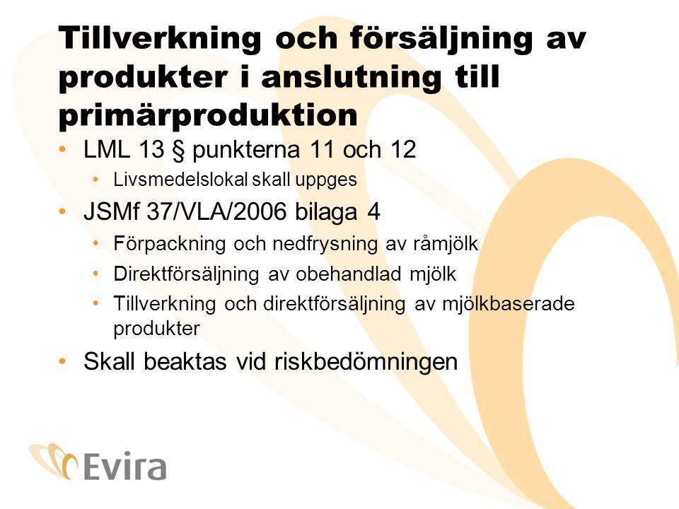 Tillverkning och försäljning av produkter i anslutning till primärproduktion LML 13 § punkterna 11 och 12 Livsmedelslokal skall uppges JSMf 37/VLA/200
