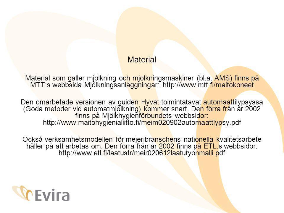 Material Material som gäller mjölkning och mjölkningsmaskiner (bl.a.