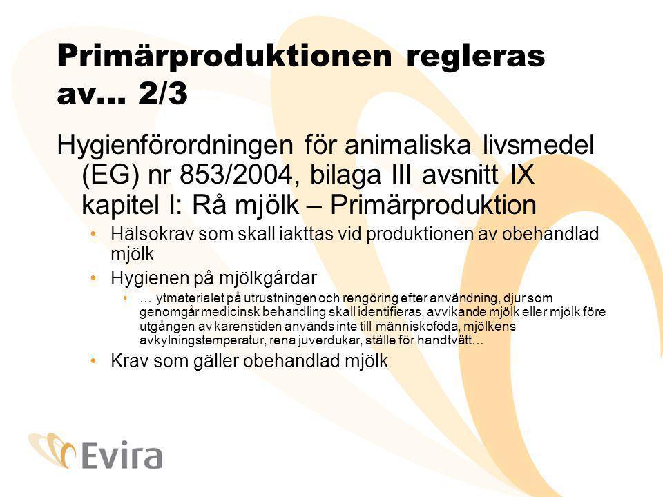 Primärproduktionen regleras av… 3/3 Livsmedelslagen 23/2006 Allmänna krav 10 § Djurens hälsotillstånd, skötsel, hantering, transport - tryggande av en god hygienisk kvalitet på livsmedel 12 § Anmälan om primärproduktionsställe 22 § Kommunen skall underrätta gården om att den inte behöver göra någon anmälan 88 § Egenkontroll och bokföring i anslutning till den Tillräckliga och korrekta uppgifter, vetskap om hälsofaror och kritiska punkter i verksamheten, bokföring av genomförandet 19 § Plan för egenkontroll krävs ej av primärproduktionsställena 20 § Tike har ett register över primärproduktionsställen.