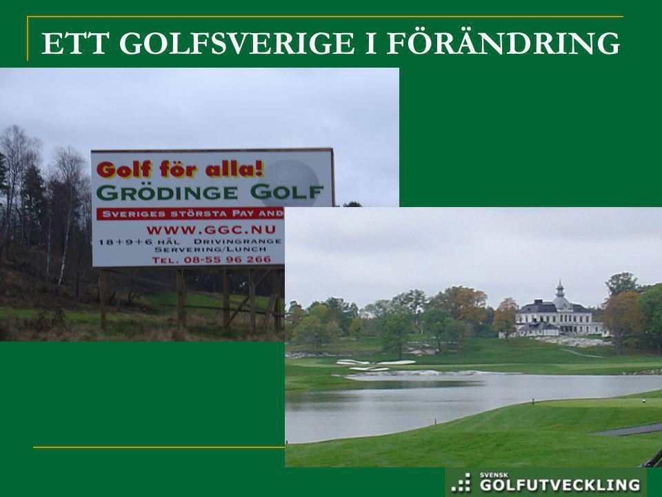 Läget i Golfsverige Mellan 2003 – 2008  Tappat 30% juniormedlemmar  Tapp i alla åldrar upp till 40 år  Kraftig ökning seniorer – 60 år och över.