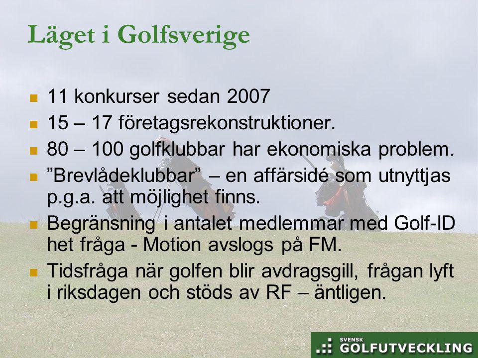 Läget i Golfsverige 11 konkurser sedan 2007 15 – 17 företagsrekonstruktioner.