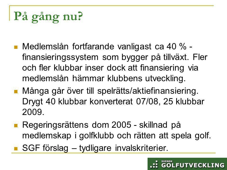 På gång nu. Medlemslån fortfarande vanligast ca 40 % - finansieringssystem som bygger på tillväxt.