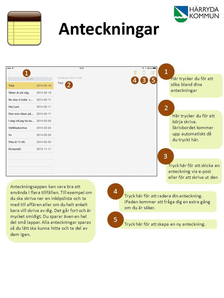 Tryck här för att radera din anteckning. iPaden kommer att fråga dig en extra gång om du är säker. Tryck här för att skicka en anteckning via e-post e