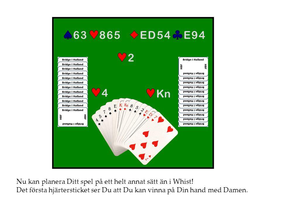 Nu kan planera Ditt spel på ett helt annat sätt än i Whist! Det första hjärtersticket ser Du att Du kan vinna på Din hand med Damen. 4 E 9 4E 9 4E D 5