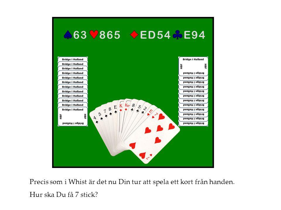 E 9 4E 9 4E D 5 4E D 5 48 6 58 6 56 36 3 Precis som i Whist är det nu Din tur att spela ett kort från handen. Hur ska Du få 7 stick?