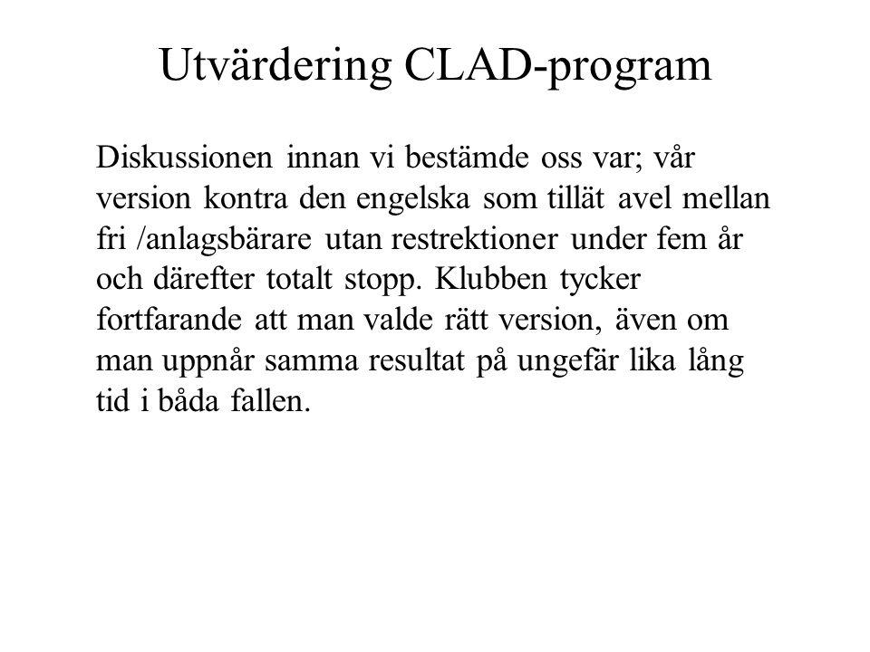 Utvärdering CLAD-program Diskussionen innan vi bestämde oss var; vår version kontra den engelska som tillät avel mellan fri /anlagsbärare utan restrektioner under fem år och därefter totalt stopp.