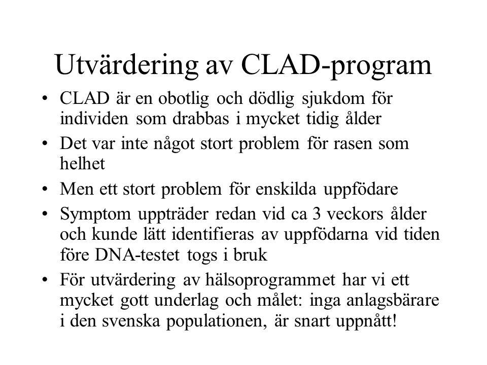 Utvärdering av CLAD-program CLAD är en obotlig och dödlig sjukdom för individen som drabbas i mycket tidig ålder Det var inte något stort problem för rasen som helhet Men ett stort problem för enskilda uppfödare Symptom uppträder redan vid ca 3 veckors ålder och kunde lätt identifieras av uppfödarna vid tiden före DNA-testet togs i bruk För utvärdering av hälsoprogrammet har vi ett mycket gott underlag och målet: inga anlagsbärare i den svenska populationen, är snart uppnått!