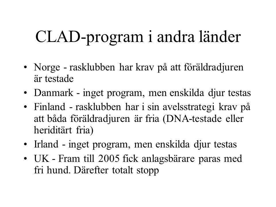CLAD-program i andra länder Norge - rasklubben har krav på att föräldradjuren är testade Danmark - inget program, men enskilda djur testas Finland - rasklubben har i sin avelsstrategi krav på att båda föräldradjuren är fria (DNA-testade eller heriditärt fria) Irland - inget program, men enskilda djur testas UK - Fram till 2005 fick anlagsbärare paras med fri hund.