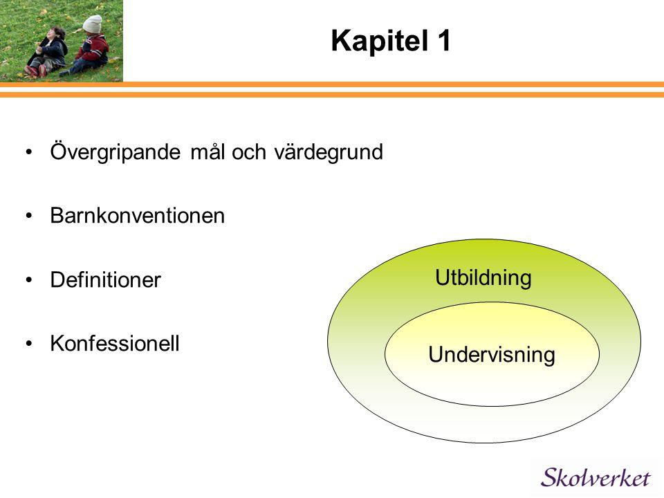 Kapitel 1 Övergripande mål och värdegrund Barnkonventionen Definitioner Konfessionell Utbildning Undervisning