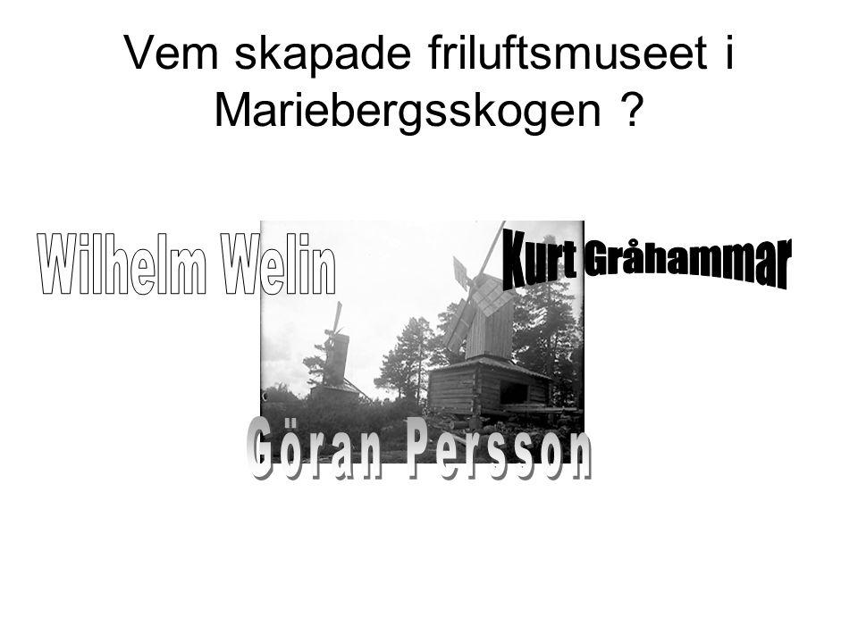 Vem skapade friluftsmuseet i Mariebergsskogen ?