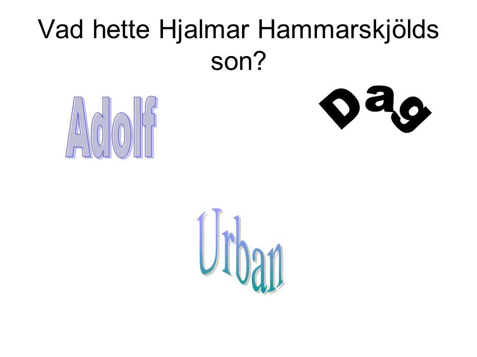 Vad hette Hjalmar Hammarskjölds son