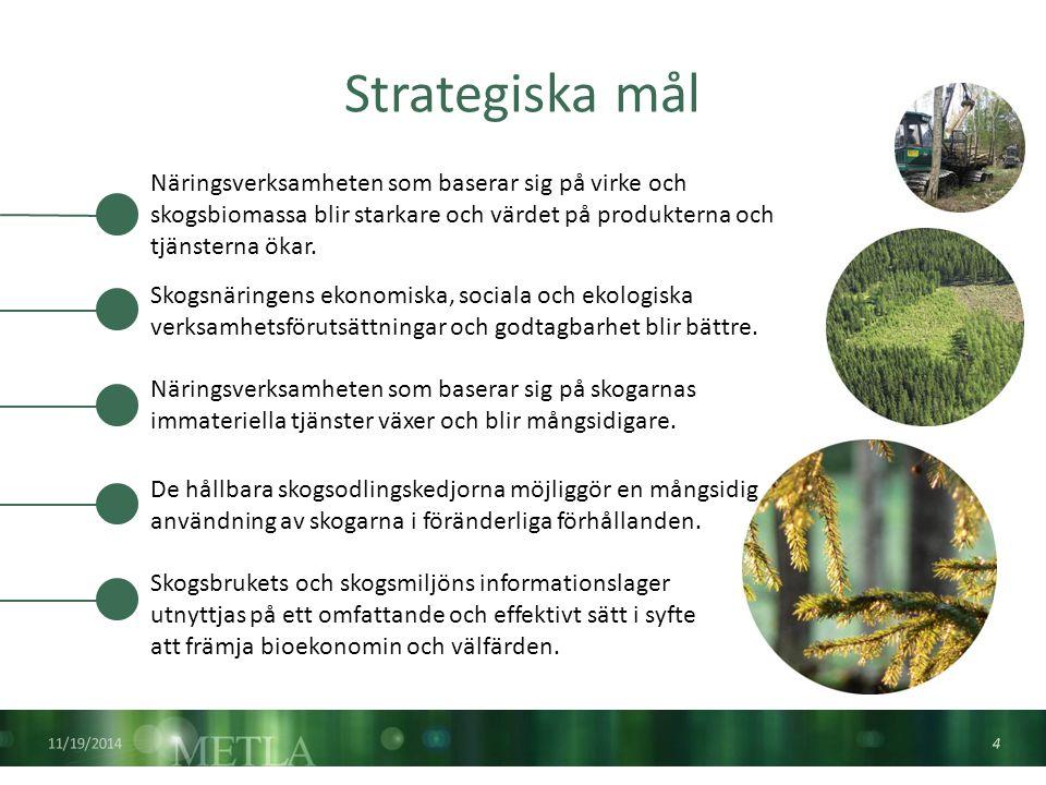 Strategiska mål 11/19/2014 4 Skogsnäringens ekonomiska, sociala och ekologiska verksamhetsförutsättningar och godtagbarhet blir bättre.