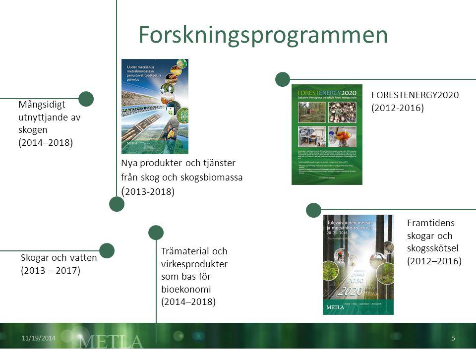 Övriga uppgifter Metla är ansvarig för flera centrala informationsservice - och myndighetsuppgifter inom skogssektorn Uppföljning av skogarnas hälsotillstånd Inventeringen av växthusgaser Skogsträdsförädling och skogsgenetiska registret Skogsstatistisk information Kontroll av bekämpnings- medel Uppgifter som virkesmätnings- lagen föreskriver National skogs- inventering 11/19/2014 6 Informations- tjänst för skogsskador